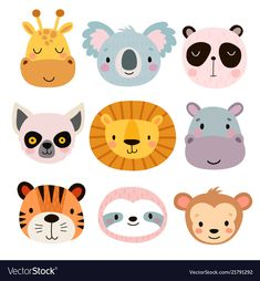 Cute animal faces hand drawn characters vector image on VectorStock Cute Animal Illustration, Forest Illustration, Cute Animals With Funny Captions, Cute Baby Animals, Cute Animals To Draw, Cute Animal Videos, Cute Animal Pictures, Animal Heads, Animal Faces