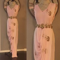 Crushing over our 'Ella' saree dress in pink. What do you think? Indian Fashion Designers, Indian Designer Outfits, Designer Dresses, Ethnic Outfits, Indian Outfits, Fashion Outfits, Draped Dress, I Dress, Indian Cocktail Dress
