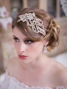 Crystal Rose Gold Headpiece Crystal Wedding Head by GildedShadows, $82.00