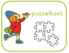 Plaatje voor op de puzzelkast in de kleuterklas. Pompom schatkist