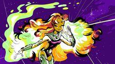 A flame princess Starfire Dc, Teen Titans Starfire, Teen Titans Go, Dc Comics Women, Marvel Dc Comics, Only Teen, Dc Memes, Star Art, Cosplay