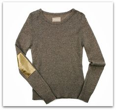 I love this cashmere sweater with leather patches!  This could totally be DIY'ed!
