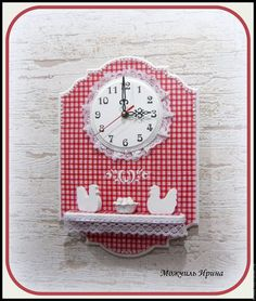 """Часы для дома ручной работы. Ярмарка Мастеров - ручная работа. Купить Часы с полочкой настенные кухонные """"Курочки"""". Handmade."""