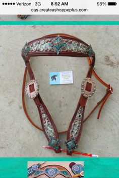 Turq/brown floral headstall with copper blinged conchos | magics custom tack