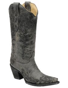 Corral Distressed Floral Embroidered Cowgirl Boots - Snip Toe