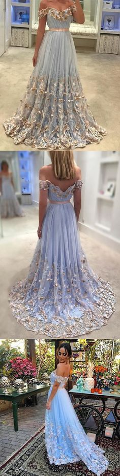 Light Blue Tulle Off The Shoulder Evening Gowns Lace Embroidery Prom Dresses Grad Dresses, Prom Dresses Blue, Pretty Dresses, Formal Dresses, Tulle Ball Gown, Ball Gowns, Debut Ideas, Lace Evening Gowns, Dream Prom