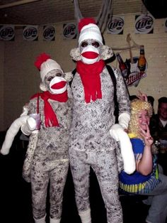 I don't know if these were bought or made, but they're awesome. I *will* fulfill my dream of being a sock monkey for Halloween, dammit!