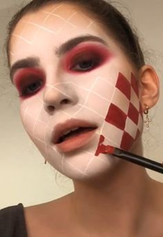 Are you looking for ideas for your Halloween make-up? Browse around this site for cute Halloween makeup looks. Sfx Makeup, Makeup Art, Scary Makeup, Evil Clown Makeup, Puppet Makeup, Creepy Doll Makeup, Wound Makeup, Cute Clown Makeup, Werewolf Makeup