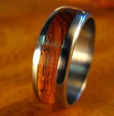 Titanium Wedding Ring with Cocobolo Wood Inlay by robandlean, $142.50