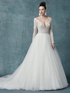 Sexy, romantic, and utterly feminine, this long-sleeve ball gown wedding dress is a transformative thing to behold, but even better to wear IRL. Lace Wedding Dress, Maggie Sottero Wedding Dresses, Long Sleeve Wedding, Long Wedding Dresses, Bridal Dresses, Wedding Gowns, Tulle Wedding, Kleinfeld Wedding Dresses, Prom Dresses