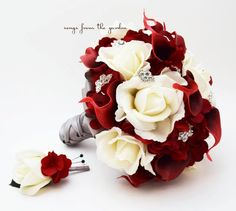 White Roses Deep Red Calla Lilies & Rhinestones Bridal Bouquet Groom's Boutonniere Red and White Wedding Bouquet