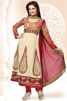 Monika Bedi Biege, Red Georgette Suit