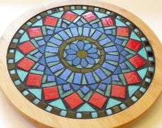 Custom Mosaic Turntable - Made to Order - Geometric Mandala Mosaic - Bamboo Trivet Diameter - Functional Art Piece - Handmade Mosaic Vase, Mirror Mosaic, Mosaic Diy, Mosaic Crafts, Mosaic Projects, Mosaic Tiles, Mosaic Rocks, Wall Mirror, Stained Glass Birds