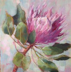 King Protea by Karen Burns Easy Flower Painting, Flower Art, Watercolor Flowers, Watercolor Paintings, Protea Art, Australian Native Flowers, King Art, Arte Floral, Acrylic Art