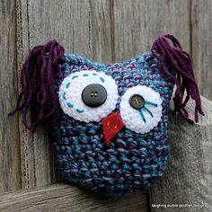 Calypso the Kooky Owl - free crochet pattern in 4 sizes by Sharon Maher / laughing purple goldfish designs.