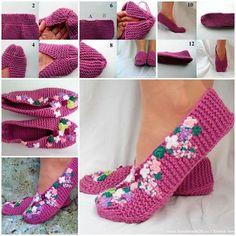 Pretty Knitted Lilac Slippers.  Free pattern--> http://wonderfuldiy.com/wonderful-diy-knit-pretty-slippers/  Follow us on Pinterest --> http://bit.ly/1hwW3IK