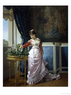 Auguste Toulmouche, Watering Flowers Giclee Print