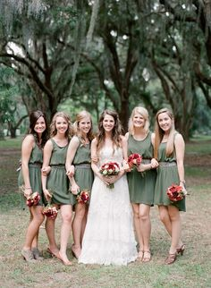 Sage bridesmaid dresses great for a fall wedding Olive Green Bridesmaid Dresses, Casual Bridesmaid Dresses, Bridesmaids And Groomsmen, Wedding Bridesmaids, Wedding Dresses, Green Bridesmaids, Autumn Bridesmaids, Sage Dresses, Bridesmaid Accessories