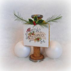 Vintage Wood Spool Merry Christmas Ornament by SnowBerryNeedleArts