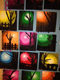 Tints and shades grade winter art, autumn art, art lessons elementary, art Fall Art Projects, Classroom Art Projects, School Art Projects, Art Classroom, Kindergarten Classroom, Halloween Art Projects, Art 2nd Grade, Club D'art, Classe D'art