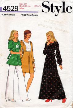1970s Flared Boho Dress or Top Pattern Style by BessieAndMaive