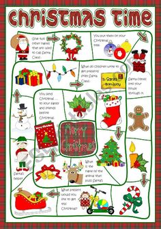 A board game to practise Christmas vocabulary. Have a nice week, mada :) Vocabulary Worksheets, Kids Writing, Christmas Games, Before Christmas, Teaching English, Esl, Board Games, Holiday, First Class