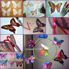 How to DIY Butterfly Mobiles from Milk Jug tutorial and instruction. Follow us: www.facebook.com/fabartdiy