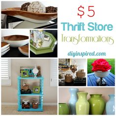 Five Dollar Thrift Store Transformations- AWESOME, Rope vases, mirror makeouver, jewlery pedestol etc...