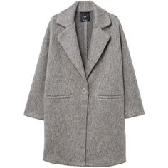 MANGO Unstructured mohair-blend coat (6.965 RUB) ❤ liked on Polyvore featuring outerwear, coats, jackets, casacos, grey, medium heather grey, mango coats, long sleeve coat, gray coat and grey coat