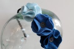 Ombre Blue Felt Flower Headband