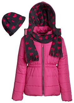 7d2192541 Pink Platinum Girls Hooded Winter Puffer Bubble Jacket Coat Matching Hat &  Scarf - Bright Pink