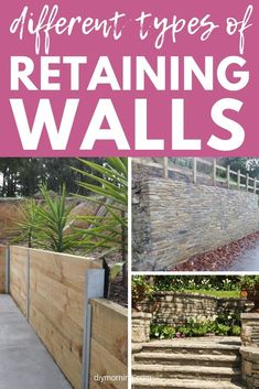 Different Types of Retaining Wall Materials & Designs With Images - There are four main types of retaining walls that you should be aware of if you are considering ins - Types Of Retaining Wall, Building A Retaining Wall, Garden Retaining Wall, Gabion Wall, Landscaping A Slope, Landscaping Retaining Walls, Front Yard Patio, Garden Landscape Design, Fantasy Landscape
