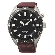Seiko Seiko Core SKA627 Kinetic 44mm Men's Red Leather Watch