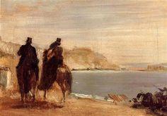 Promenade by the Sea - Artista: Edgar Degas Data da Conclusão: c.1860 Estilo: Impressionism Género: genre painting Técnica: oil Material: canvas Galeria: Private Collection