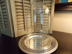 GLASS CLOCHE with Vintage Silver Plate by VintageCreativeAccen, $28.00