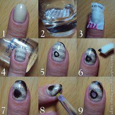 Glitterfinger Lexa — TUTORIAL | Burned Paper Nails 1. Paint your nails...