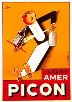 L'Aperitif Amer Picon by Sepo, (Severo Pozzati) (1930 ca.) | Shop original vintage posters online: www.internationalposter.com