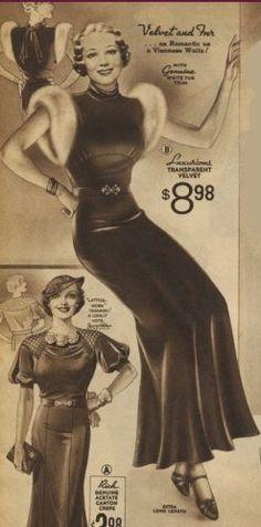 1935 Velvet and fur trim bias gown