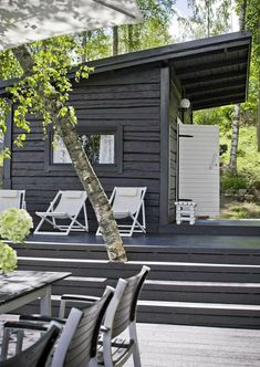 The Finnish holiday holidays include a beach sauna or a sauna cabin. Our holiday home … – Garden Types - How to Make Gardening Design Sauna, Outdoor Sauna, Container House Design, Black House, Porches, Tiny House, Cottage, Garden Types, Finnish Sauna