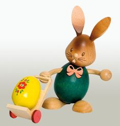 Easter Bunny Rabbit With Egg Cart German Erzgebirge Figurine Made in Germany for sale online