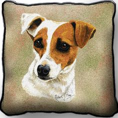 Jack Russell Terrier Dog Portrait Pillow