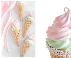 Sprinkle Bakes: Pink Vanilla Key Lime Mallow Cones