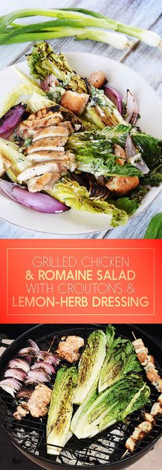 Grilled Chicken and Romaine Salad with Croutons and Lemon-Basil Dressing