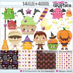 Halloween Clipart, Halloween Graphics, COMMERCIAL USE, Kawaii Clipart, Halloween Party, Planner Accessories, Candy Corn Graphic, Pumpkin