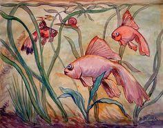 Schleierfische.   Objektbezeichnung: Aquarell   Sachgruppe: Zeichnung / Grafik   Künstler:  Blunck, Heinrich    Datierung: 2. Drittel 20. Jahrhundert