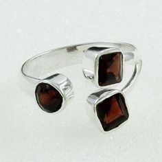 Garnet Stone Antique Look 925 Sterling Silver Ring by JaipurSilverIndia on Etsy