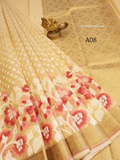 Pure handloom Organza Saree with Tilfi Work Borders ! **The World of Pure Fabrics**   Organza Saree, Delhi Ncr, Pure Products, Chandigarh, Mumbai, Singapore, Fabrics, Canada, Australia