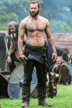Shirtless Rollo from Vikings Vikings Tv Show, Vikings Tv Series, Viking Men, Viking Warrior Men, Ragnar Lothbrok, Lagertha, Viking Tattoos, History Channel, Bearded Men