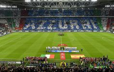 The teams line up ahead of the FIFA 2018 World Cup Qualifier between Italy and Spain at Juventus Stadium on October 6, 2016 in Turin, Italy.