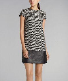 Black & White Faux Leather Herringbone Shift Dress